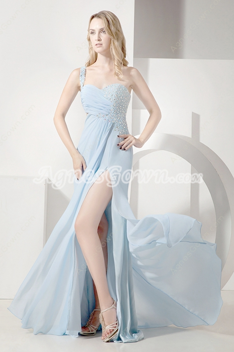 Hot Sleeveless One Straps Baby Blue Evening Dresses