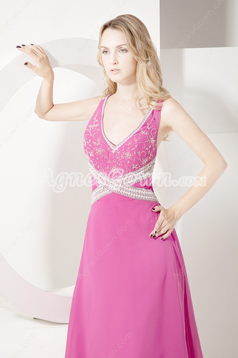 Sexy Crossed Straps Fuchsia Chiffon Evening Dresses