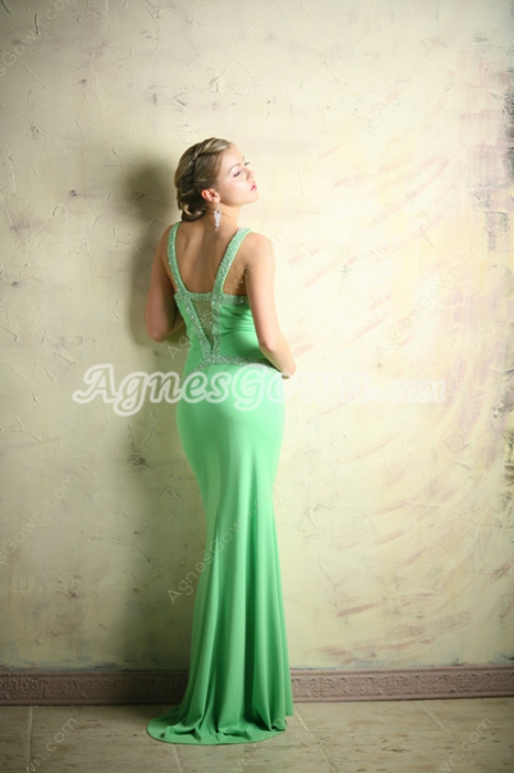 Sexy Green Illusion Evening Dresses