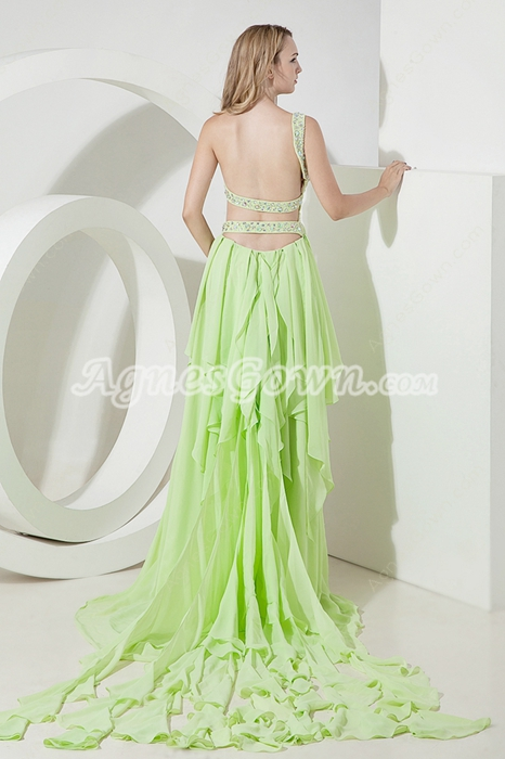Sage Green One Shoulder Open Back Prom Dresses With Ruffles