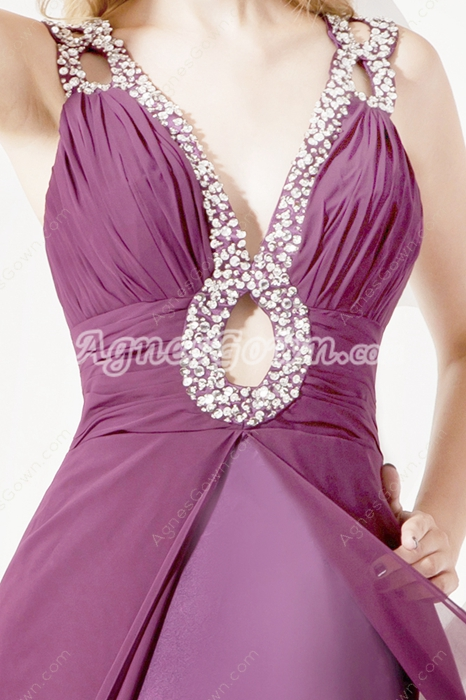 Stylish Grape Chiffon Prom Dresses With Cut Out