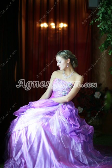 Pretty Lilac Organza Quinceanera Dress 2016