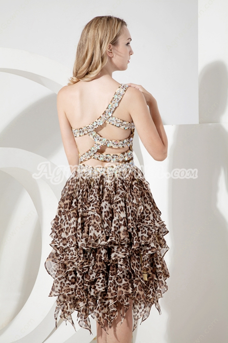 Sexy Leopard Chiffon One Shoulder Cocktail Dresses