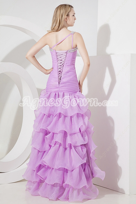 Lilac One Shoulder A-line 2016 Prom Dresses With Ruffles