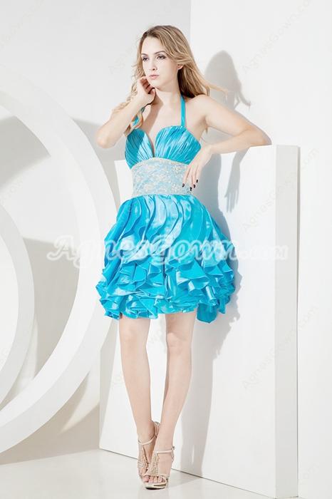 Lovely Turquoise Halter Damas Dresses