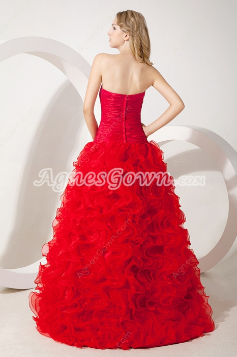 Modern Sweetheart Red Organza Sweet Sixteen Dress