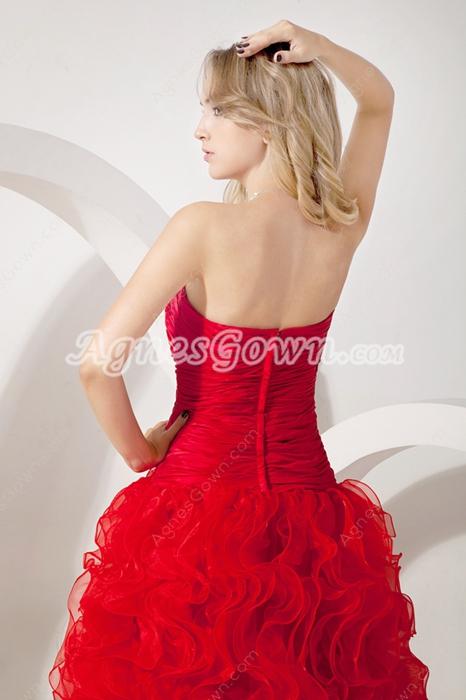 Modern Sweetheart Red Organza Sweet Sixteen Dress