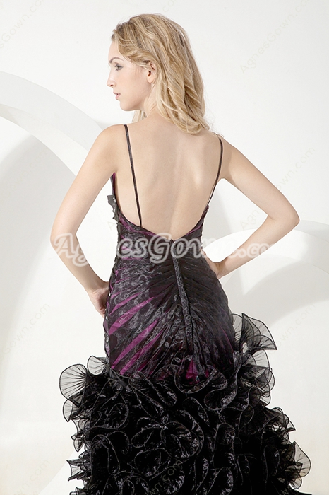Chic Black & Purple Ruffled Sweet Sixteen Dress With Great Handwork