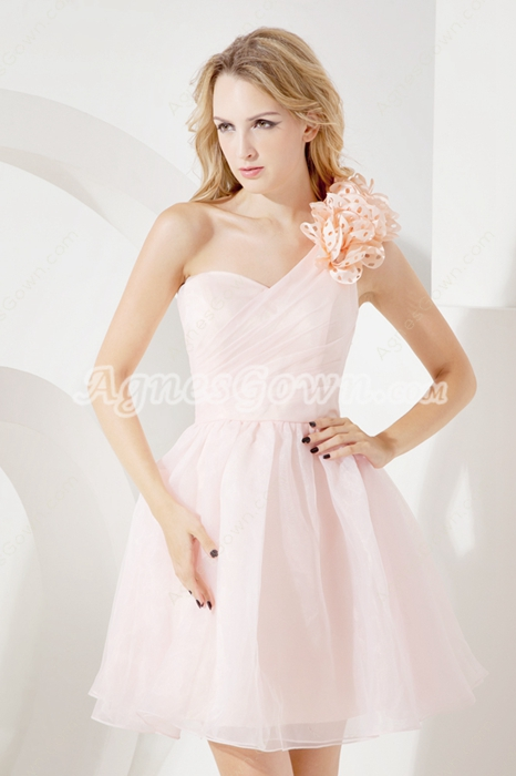 Charming One Shoulder Pink Organza Sweet XVI Dresses