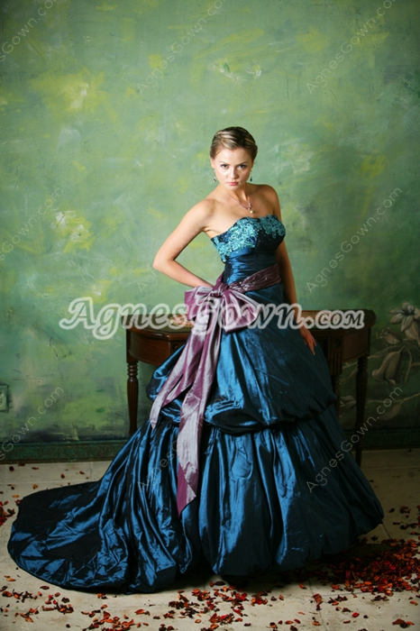 Charming Dark Navy Wedding Dress with Sash