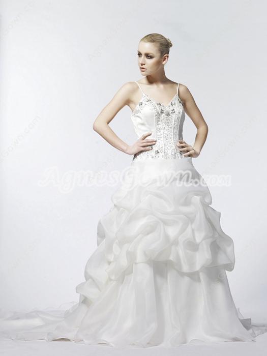 Classy V-neckline Ball Gown Organza Wedding Dress