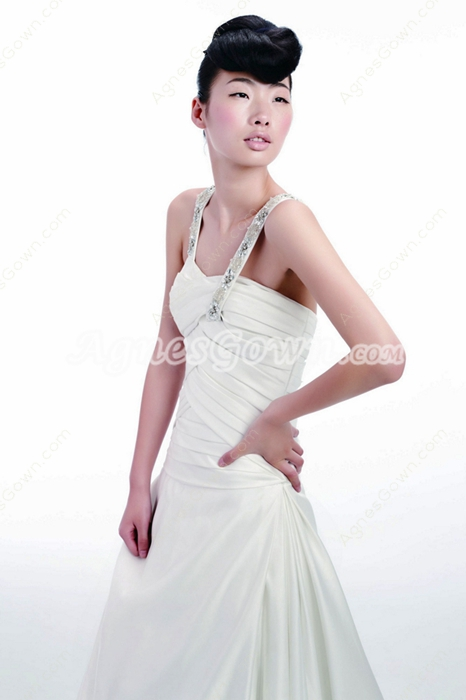 Double Straps White Satin Destination Wedding Dress Pleated Bodice