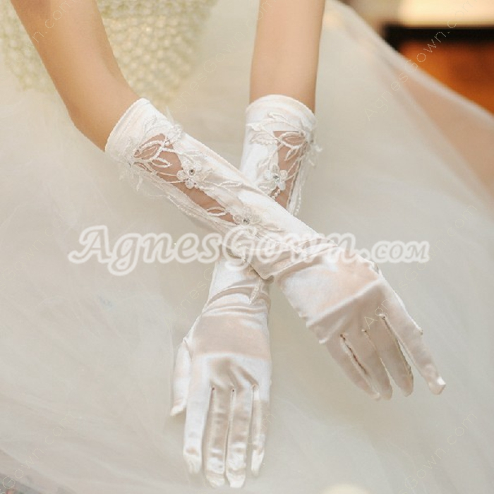 Appliqued Elbow Fingertips Bridal Glove
