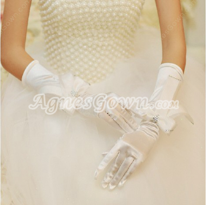 Elbow Fingertips Elastic Woven Satin Wedding Gloves