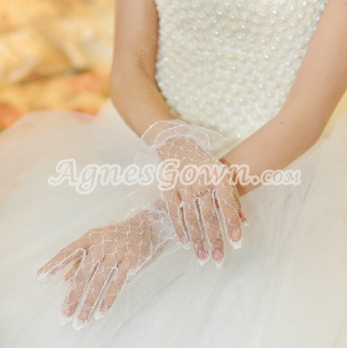 Wrist Length Lace Wedding Gloves