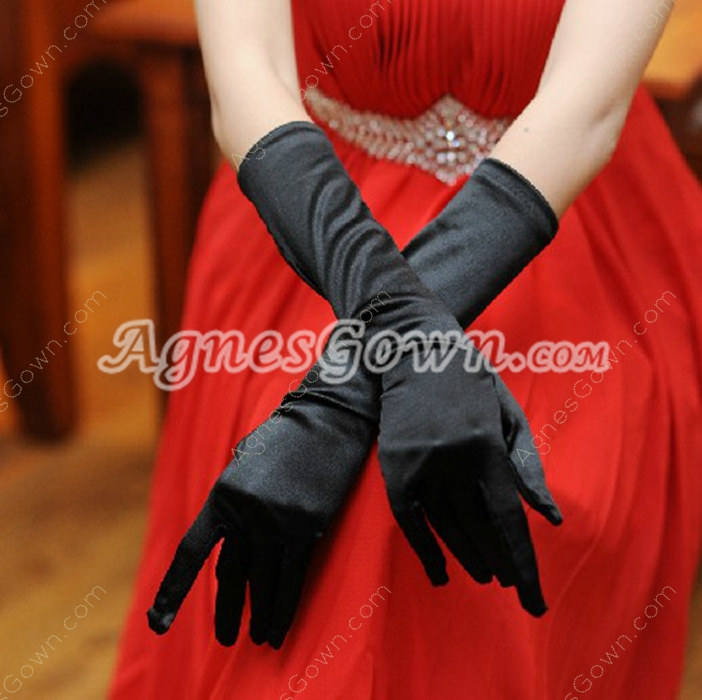 Gothic Black Elbow Evening Gloves
