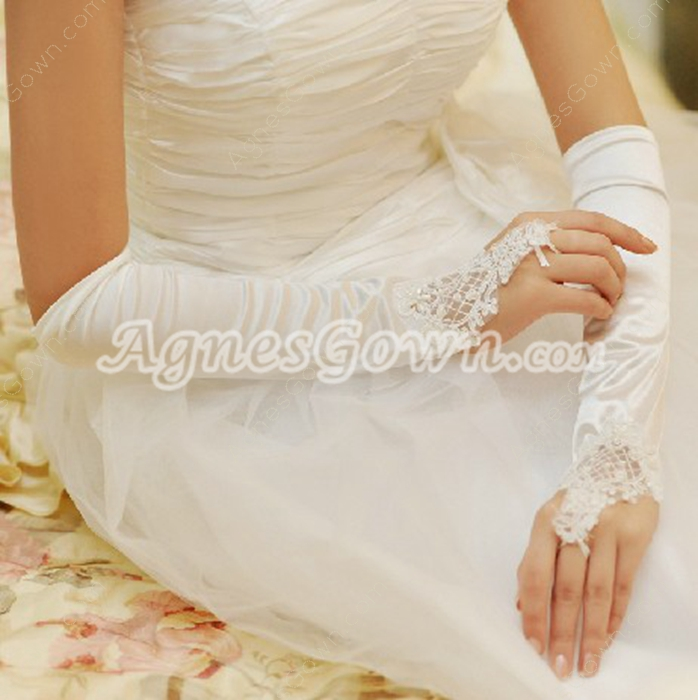 Spandex Elbow Length Fingerless Wedding Gloves