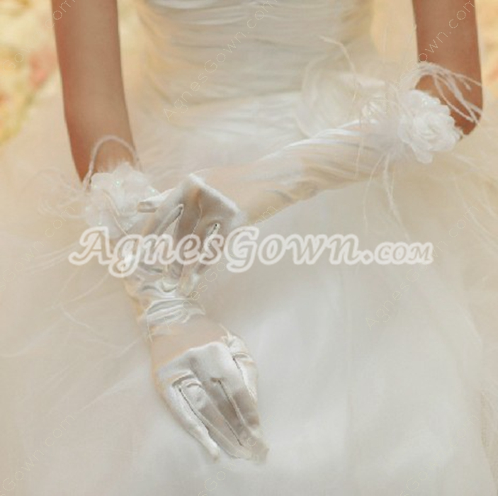 Handmade Flower Elbow Feather Wedding Glove