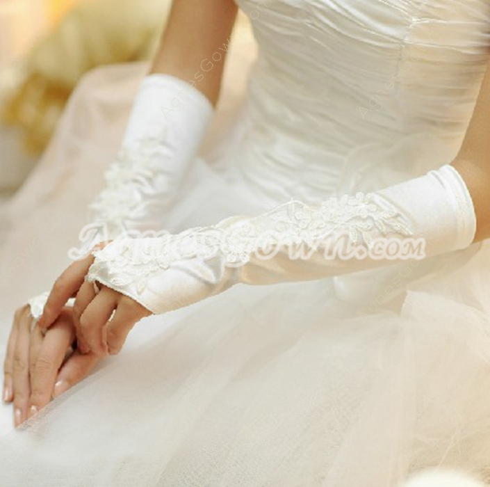 Appliques Fingerless Wedding Gloves