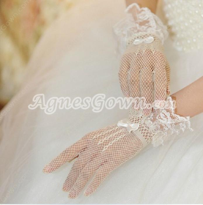 Wrist Length Fishnet Wedding Gloves