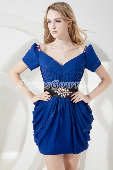Stylish Royal Blue Off Shoulder Wedding Guest Dress with Short Sleeves