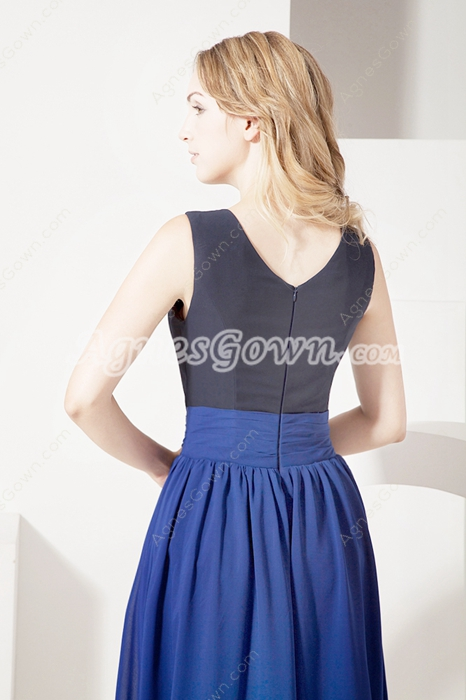 Unique Navy Blue Chiffon Dress for Mother of Groom