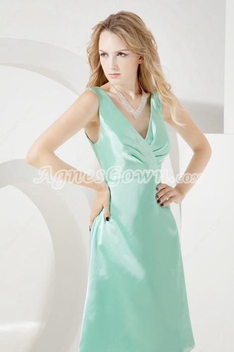 Simple Sage V-neckline Short Bridesmaid Dresses