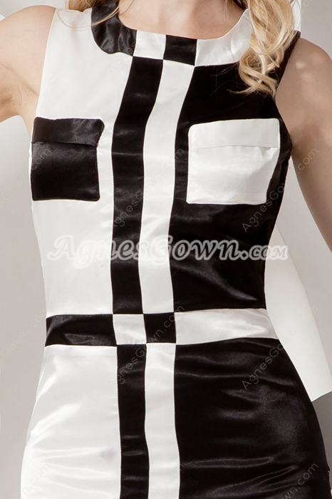 Chic White And Black Satin Wedding Guest Dress