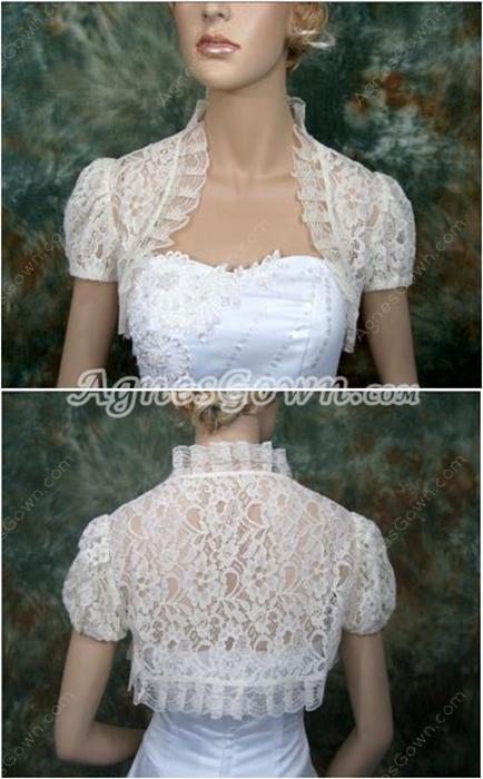 Short Sleeves Ivory Lace Bolero