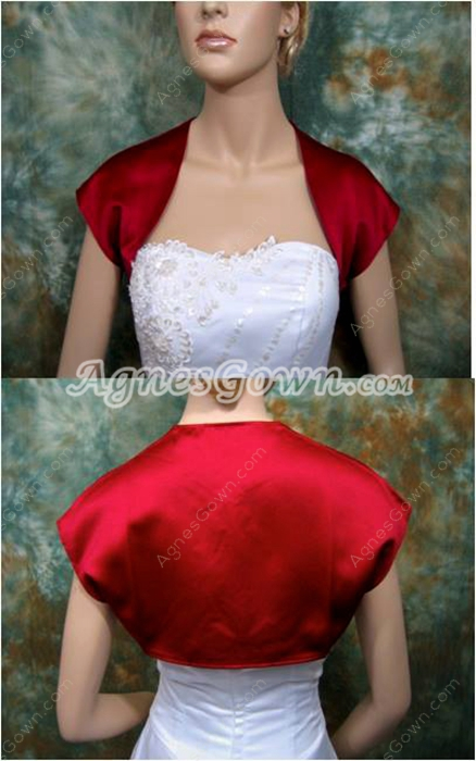 Short Sleeves Red Satin Jacket