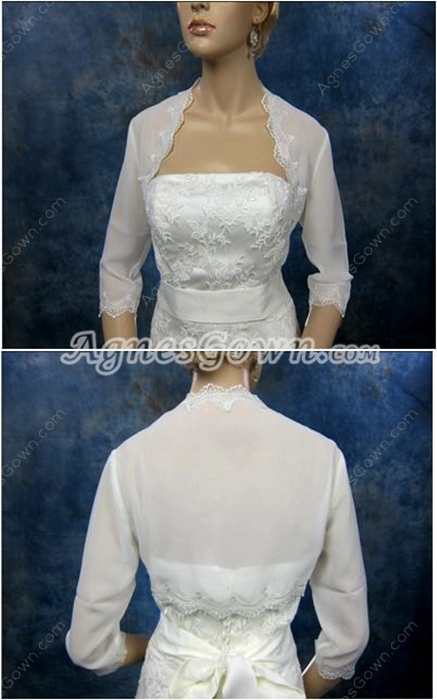 3/4 Sleeves Ivory Chiffon Wedding Jacket