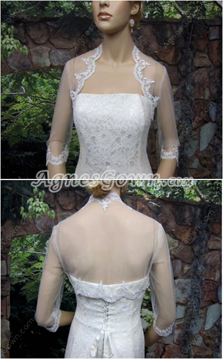 3/4 Sleeves Sheer Lace Bolero
