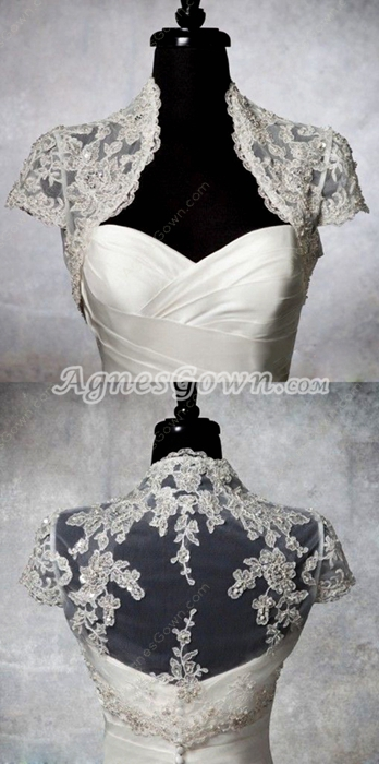 High Neckline Short Sleeves Lace Bolero