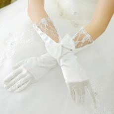 Elbow Length Lace & Satin Wedding Gloves