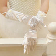 Winter Satin Wedding Gloves