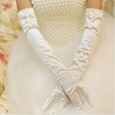 Long Satin Gloves Gor Winter Wedding