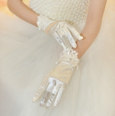 Short Satin Wedding Gloves With Lace