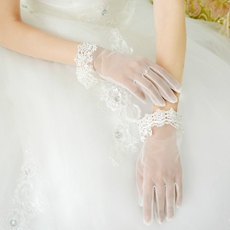Organza & Lace Short Wedding Gloves