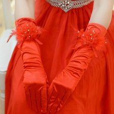 Feathered Red Gloves For Evening Dress
