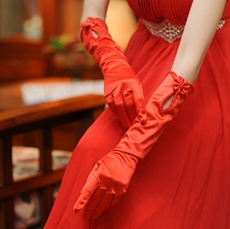 Vintage Red Elbow Gloves
