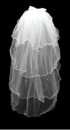 4 Layered Wedding Veil With Pearls