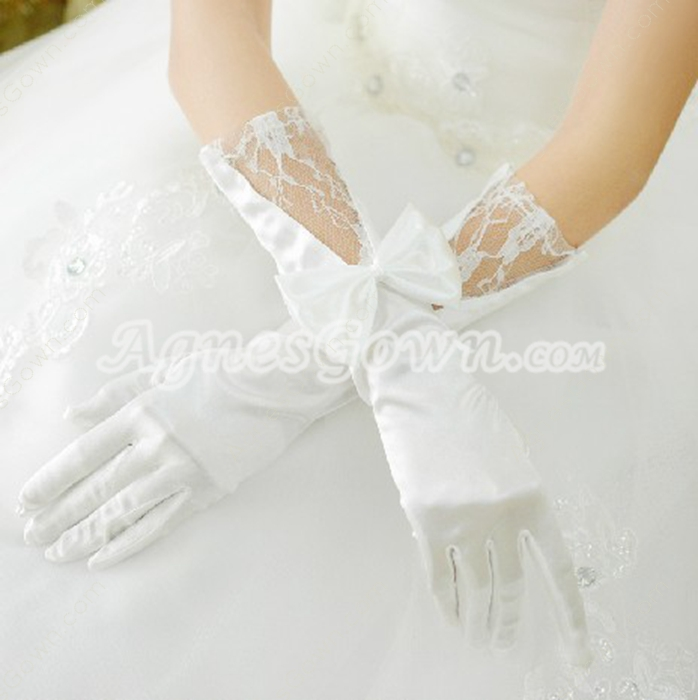 Elbow Length Lace & Satin Wedding Gloves