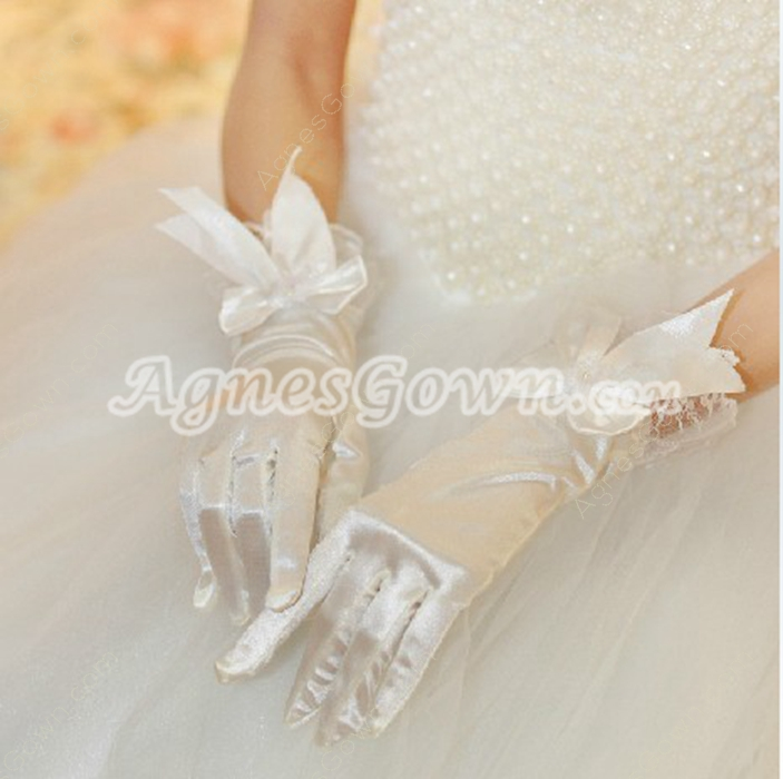 Vintage Satin Short Gloves For Wedding