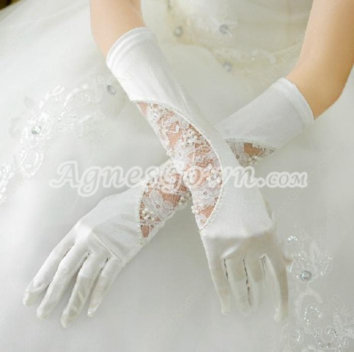 Romantic Elbow Lace & Satin Wedding Gloves