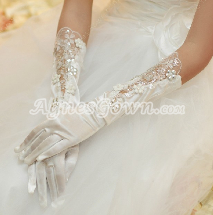 Elbow Length Wedding Gloves With Sequins