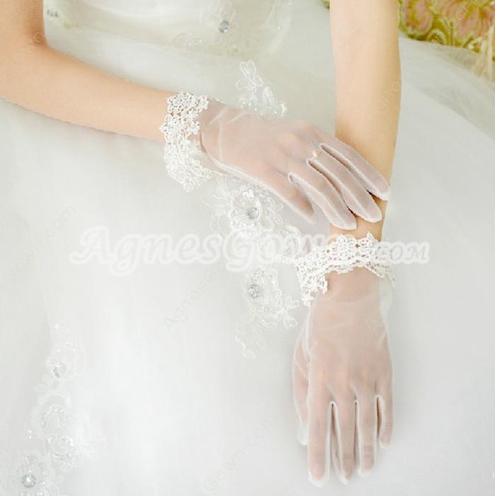 Organza & Lace Short Wedding Gloves