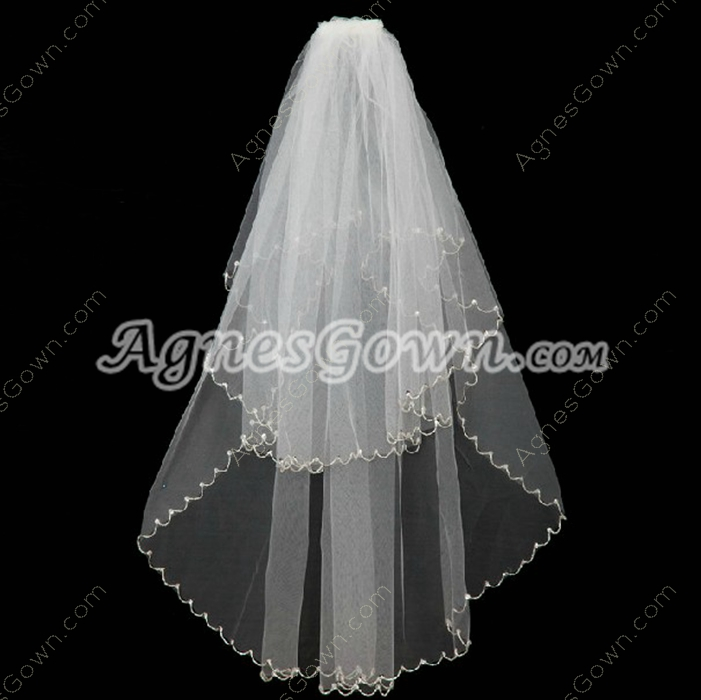 Dazzling Fingertip Length Wedding Veil