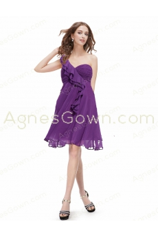 2016 Cute One Shoulder Empire Short Bridesmaid Dress For Maternity Women