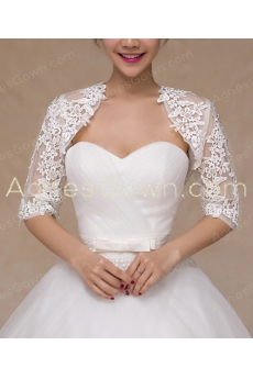 3/4 Sleeves Lace Wedding Jacket