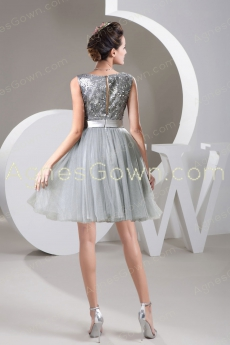 Bateau Neckline Knee Length Silver Sweet Sixteen Dress